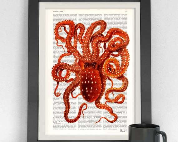 Vintage Octopus in hot orange Art Print on Dictionary page Octopus wall art  Sealife wall decor SEA002