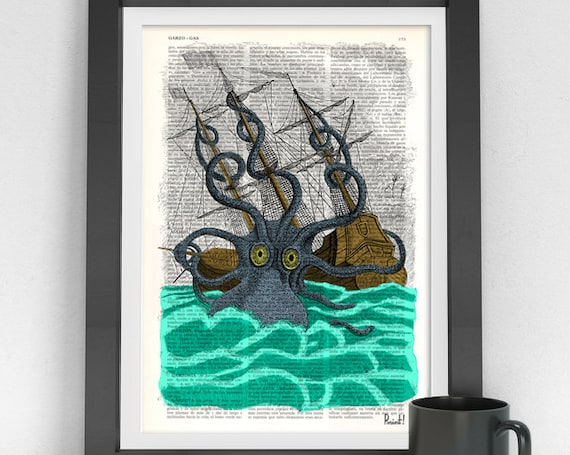 Colorful Giant Sea Monster Kraken Octopus Art Print on Vintage Dictionary page perfect for Christmas gifts SEA078b