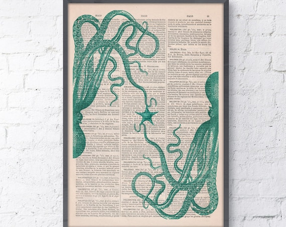 Art Print Octopus in love. Wall art sea life print. Wall decor sea foam octopus. Octopus art SEA115
