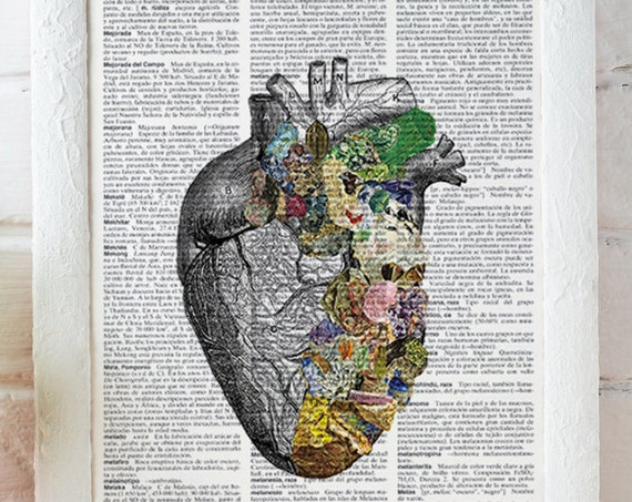 Christmas gifts for her gift Human Heart, Minerals and stones Heart. Anatomy art dictionary page -Love gift -Anatomy art, Wall art  SKA128