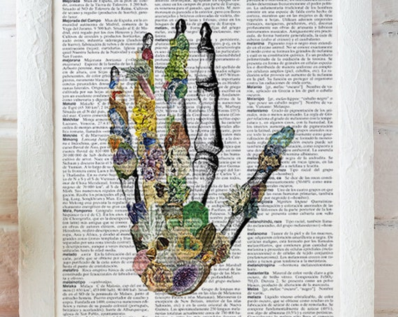 Human anatomy Hands, Minerals and stones Hands. Anatomy art dictionary page Love gift -Anatomy art, Wall art  SKA129