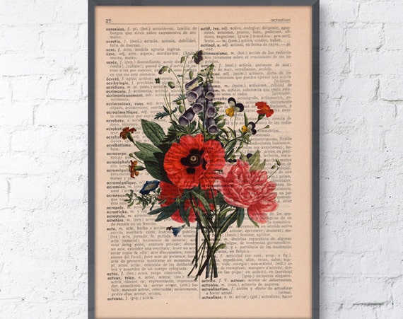 Christmas gifts for mom Wall decor Floral Bouquet Print Dictionary print flower on french book page wall decorative art botanical BFL146