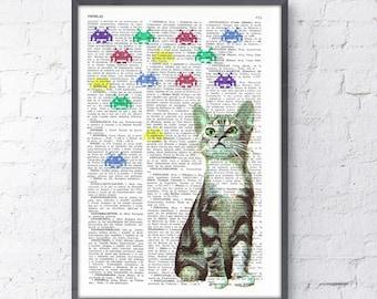 Kitten Vs Galaxians collage Print on Vintage Book page  Geek art,  Funny Nursery wall art, funny animal prints ANI232