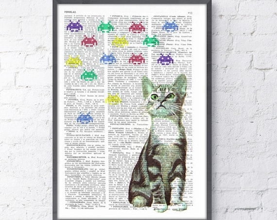 Christmas gifts for her Kitten Vs Galaxians collage, Wall art, Wall decor,   Vintage Book sheet, Nursery wall art, Wholesale  ANI232