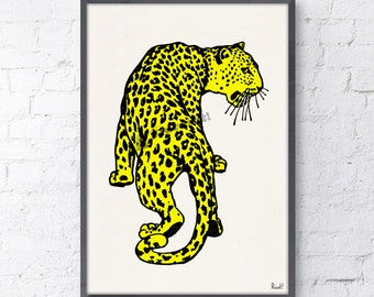 Wall decor Yellow Leopard- Wild Animal art print- Leopard print wall decor, Home and living yellow decor print ANI234WA4