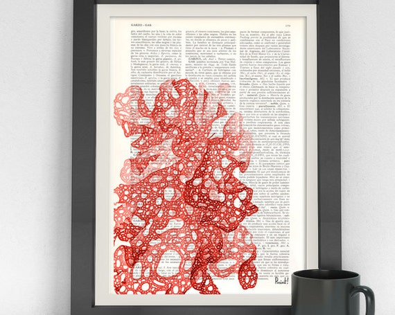 Red sea weed printed on Vintage Dictionary print Japanese Red sea kelp Wall art print sea life SEA030