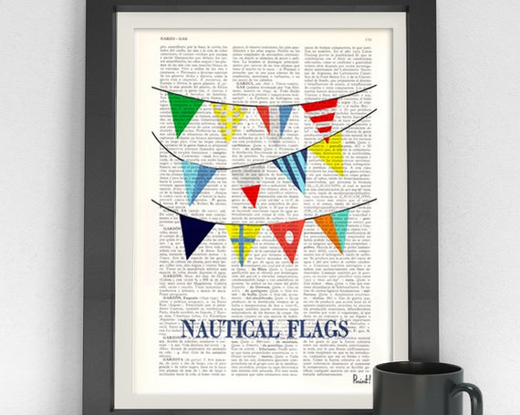 Nautical Flags print on  Dictionary Page Original collage Nautical flags Print,beach house decor, nautical SEA050