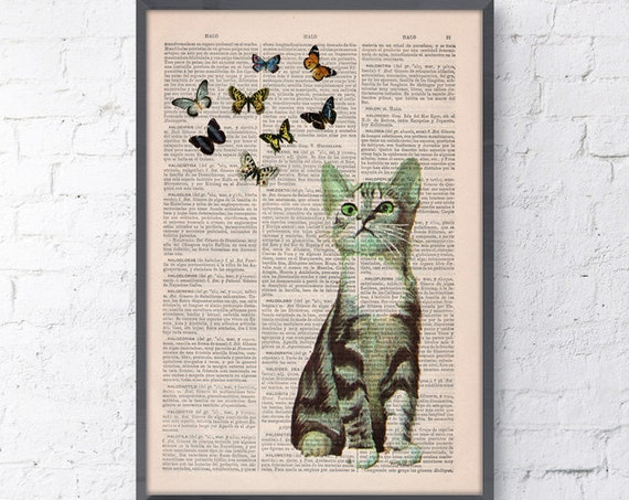 Christmas gifts for her Little cat and butterflies, Wall art, Wall decor,   Vintage Book sheet, Nursery wall art, Prints,  ANI062