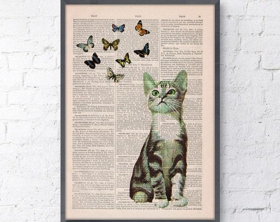 Little cat and butterflies, Wall art, Wall decor, Digital prints animal, Giclée, Vintage Book sheet, Nursery wall art, Prints,  ANI062