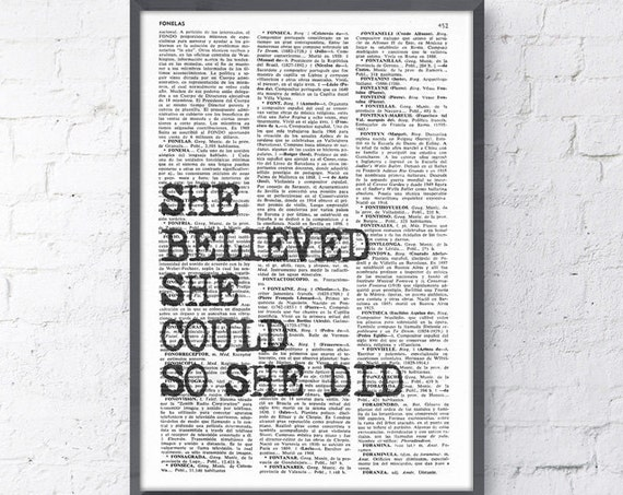 She believed She could so She did Wall Quote perfect for Christmas gifts TYQ003b