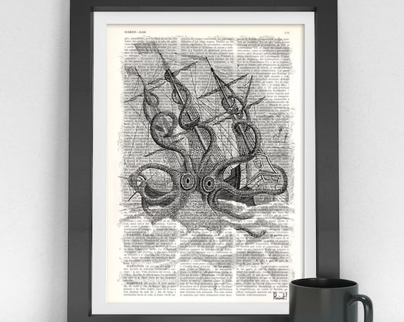 Old Style Kraken Giant Octopus Print dictionary page Wall art octopus monster wall decor octopus print SEA079