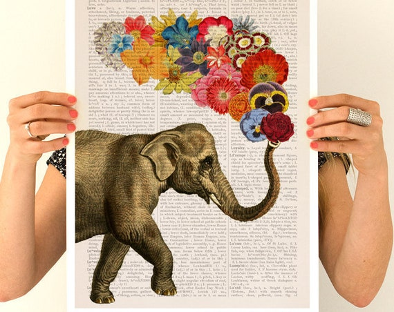Christmas gifts for mom Elephant flower art, Elephant art, Nursery art, Wall decor, Wall art, Animal art, Animal decor ANI091PA3