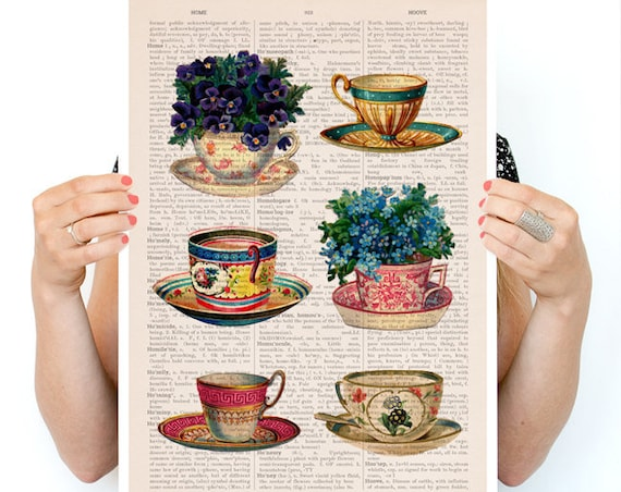 Vintage tea cups collection poster, Tea cup art, Kitchen art, art, Wall art, Wall decor, Kitchen art TVH230PA3