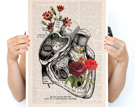 Flowery Heart Poster, anatomy art, wall art, wall decor, poster, anatomy poster,  medical art, human heart SKA080PA3