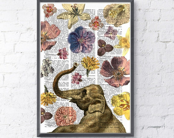 Elephant in love shower of flowers Print on Vintage Book Page perfect for Christmas gifts ANI231