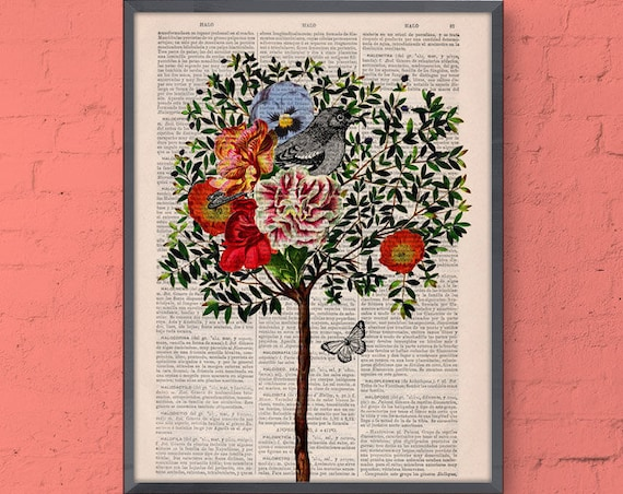 Tree with Bird Print on Vintage Book print perfect for Christmas gifts ANI220
