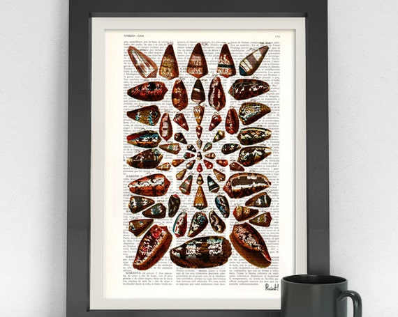 Christmas gifts for mom art print Shell collage III Print on Dictionary page Sea life illustration beautifully  print art SEA031