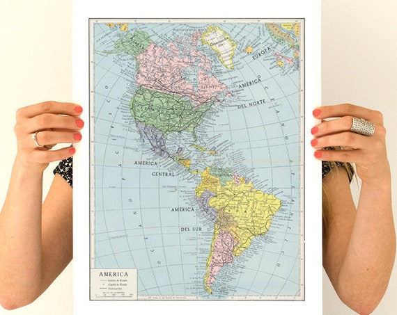 America map, Vintage reproduction poster, America poster, America wall art, Vintage map Wall art decor TVH240WA3