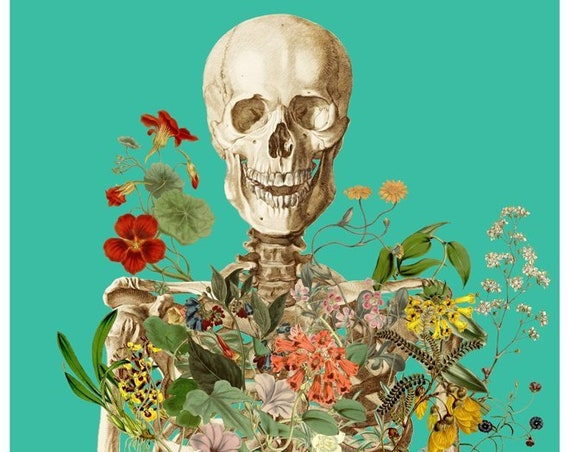 Christmas gifts for mom Skeleton covered with flowers,  Anatomy art, Wall decor, Wall art, Poster art, Gift for doctor  SKA147WA3