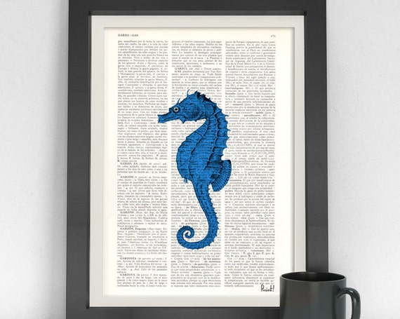 Christmas gifts Blue Sea Horse Book Print- Sea horse on  Dictionary or Encyclopedia Page SEA029