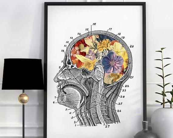 Flowery Brain Human Anatomy Art, anatomy art, brain art, brain, anatomy, wall art,  poster,  medical art, SKA053WA3