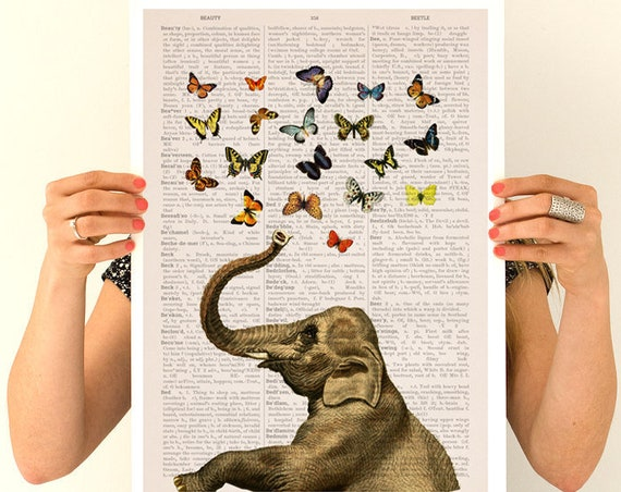 Elephant with butterfly, Elephant  print, Nursery art, Wall decor, Wall art,  Poster, Animal, Animal decor, Elephant, Wholesale,  ANI088PA3