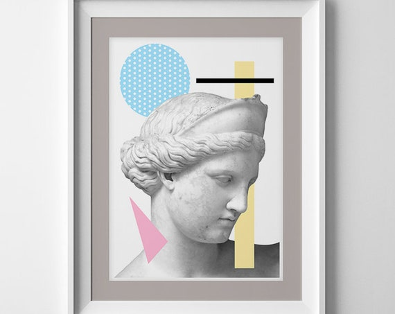 Greek head Statue. Classical art decoration, Revised classical art, Modern A3 Poster, Geometrical art SKA227WA3