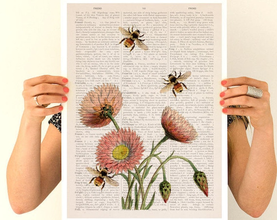Bees and wild flowers Flower art, Eco Wall art poster, Spring celebration Wall art, Wall decor BFL004PA3