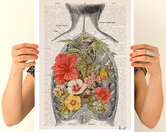 Flowers on my back   Print-Wall art. Human anatomy Chic  prints art, anatomy and flowers art, gifts SKA098PA3