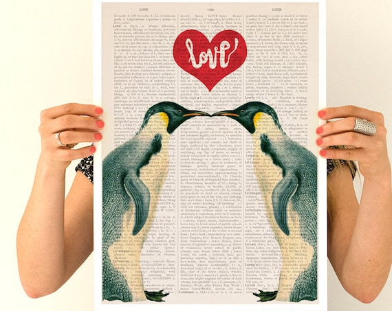 Penguins in love poster, Eco friendly, Nursery art, LOVE poster, Wall art, Wall decor, Giclee poster, Love art, Wholesale, Poster  ANI015PA3