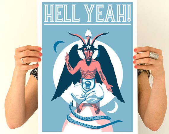 Hell Yeah Baphomet goat Poster, Wall art, Rock and roll poster, Home and Living Boyfriend gift, Wall decor TVH171WA3