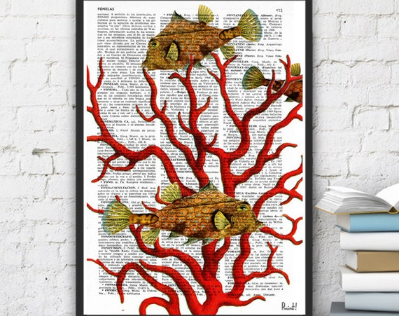 Coral Vintage Book Print Dictionary or Encyclopedia Print Coral and yellow fishes Print on Vintage Dictionary Bookart SEA041