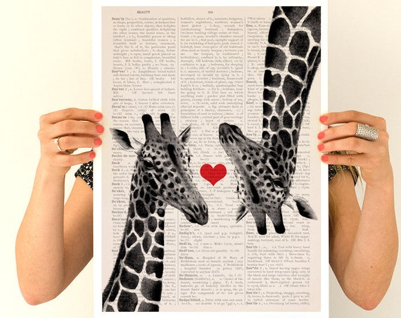 Giraffes in love poster, Poster, Animal art, Animal decor, Wall art, Wall decor,  poster, ANI012PA3