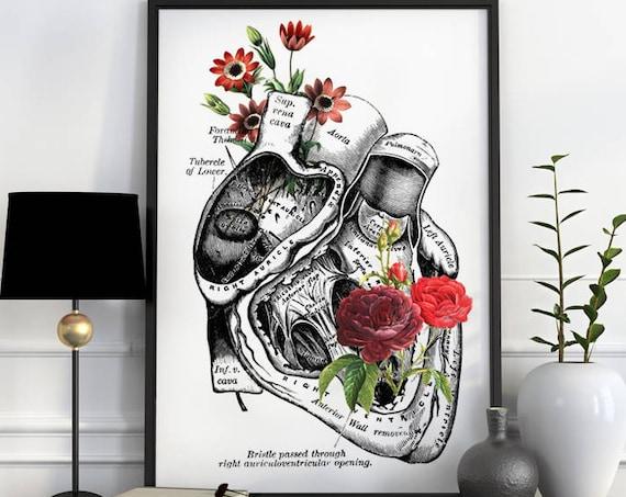 Flowery Human Heart, anatomy art, wall art, wall decor, poster, anatomy, anatomy poster, medical art,  SKA080WA3