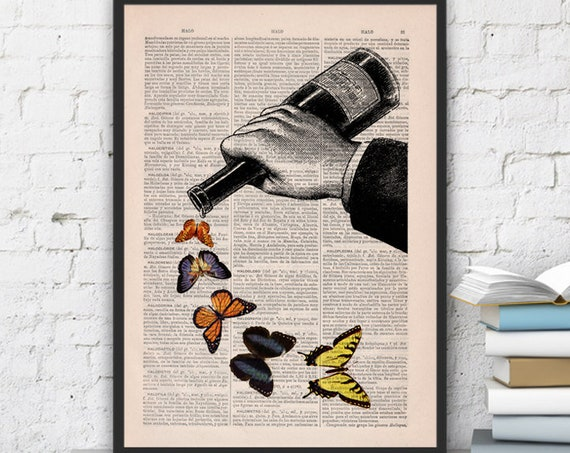 Butterflies and Wine bottle collage art print the best choice for gifts  BFL087b