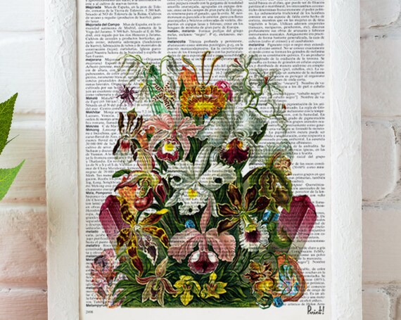 Christmas gifts for mom Flowers and Minerals bouquet. Orchids art print-Winter gift- Anatomy art, love wall art, human anatomy art BFL148