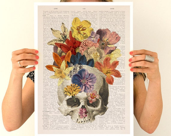 Flowers on skull Poster,  Anatomy art, Skull art, Wall art, Wall decor, Poster art, Gift for doctor  SKA016PA3