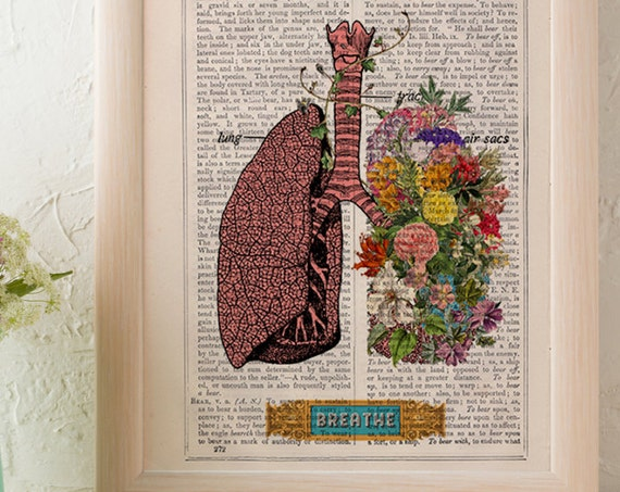 Lungs flowers BREATH Print wall art Doctors gift human anatomy print Science student gift prints SKA130