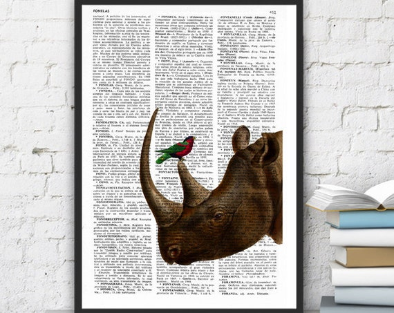 Rhino and little bird, Wall art, Wall decor,   Vintage Book sheet, Nursery wall art, Prints, Rhino print ANI072
