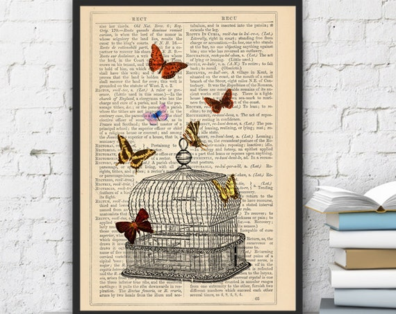 Christmas gifts for mom Release the Butterflies n06 Cage collage Print on Vintage Dictionary  page - book art print BFL016
