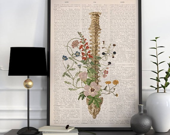 Wild flowers Spine, anatomical art, anatomy art, wall art, wall decor, poster,anatomy poster, spine art, spine, science  SKA141PA3