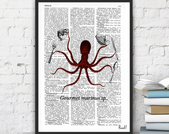 Christmas gifts for mom Book Print Dictionary or Encyclopedia Page Book print Octopus Gourmet Vintage Design Print on Old Bookart art SEA046