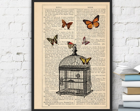 for mom Wall hanging Poster print Release the butterflies Butterflies  and cage dictionary art, dorm decor BFL025