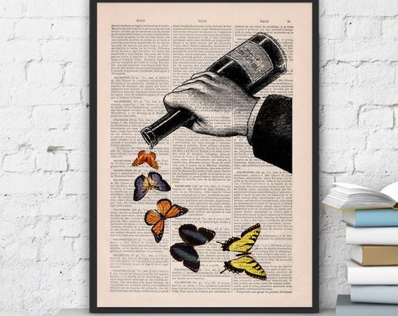 Butterflies and Wine bottle Art Prints Digital Illustration Drawing Poster Digital Print Wall Art BFL087
