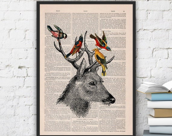 Deer  & Birds Art Giclee, Wall art, Wall decor,   Vintage Book sheet, Nursery art, Prints, Wholesale  ANI040