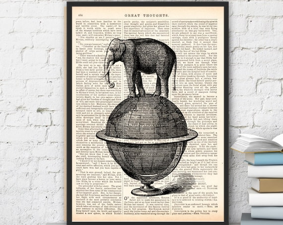 Elephant takes a walk over a world, Wall art, Wall decor,   Vintage Book sheet, Nursery wall art, Prints ANI093