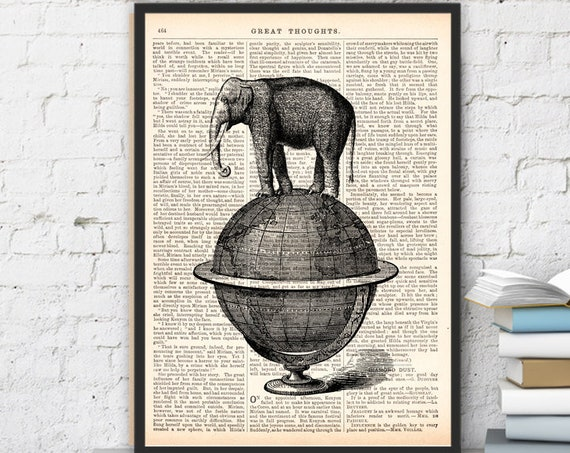 Christmas gifts for her Elephant takes a walk over a world, Wall art, Wall decor,   Vintage Book sheet, Nursery wall art, Prints ANI093