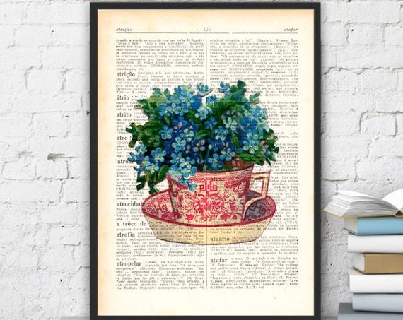 Teacup with forget me not flowers bouquet, Wall art, Wall decor, Home decor, Digital prints, Prints, Giclée, TVH068