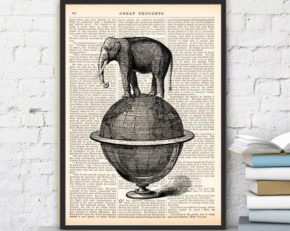 The elephant takes a walk wall art printed on vintage dictionary page the best choice for Christmas gifts ANI093b
