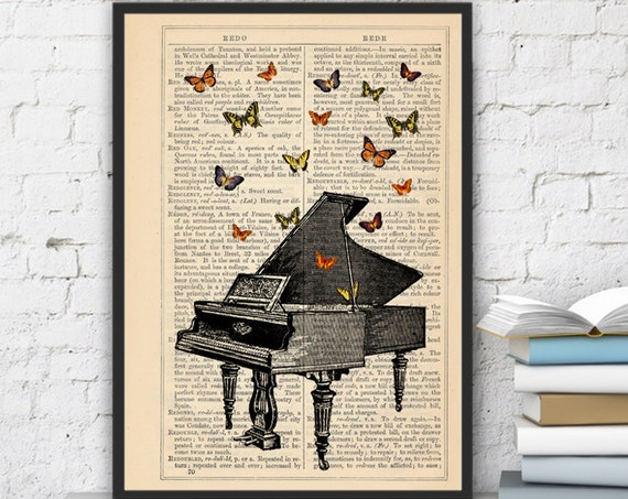 Butterflies over piano collage Print on Vintage Dictionary  page - book art print BFL086